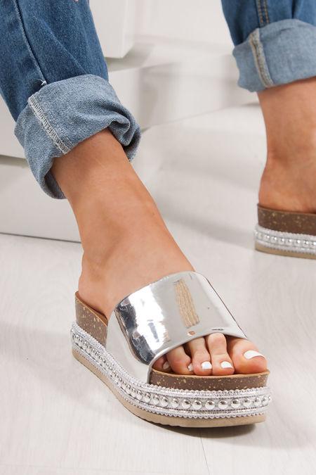 VIOLET Silver Stud Sole Metallic Flatforms