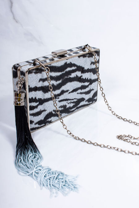LILA Silver Zebra Square Clutch Bag