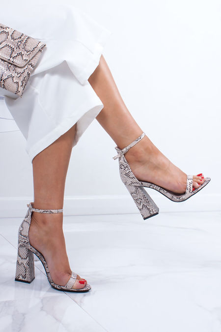 d57084bae3 ARIEL Snake Print Barely There Block Heels