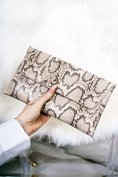 EBONY Snake Print Envelope Clutch Bag