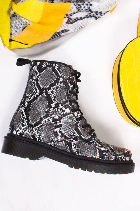 EVA Black Snake Print Lace Up Ankle Boots