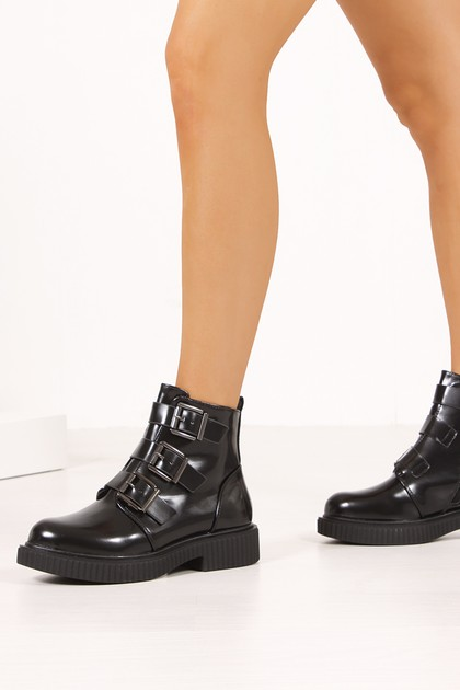 STELLA Black Matte Buckle Strap Ankle Boots