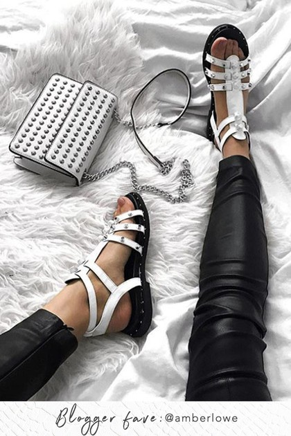 TAMARA White Gladiator Stud Sandals With Silver Detail