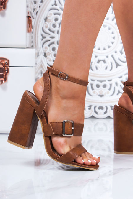 SAVANNAH Tan Strappy Block Heel Sandals
