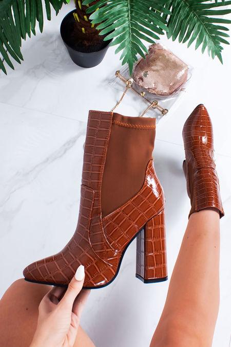 CASSIE Tan Croc Print Block Heel Boots