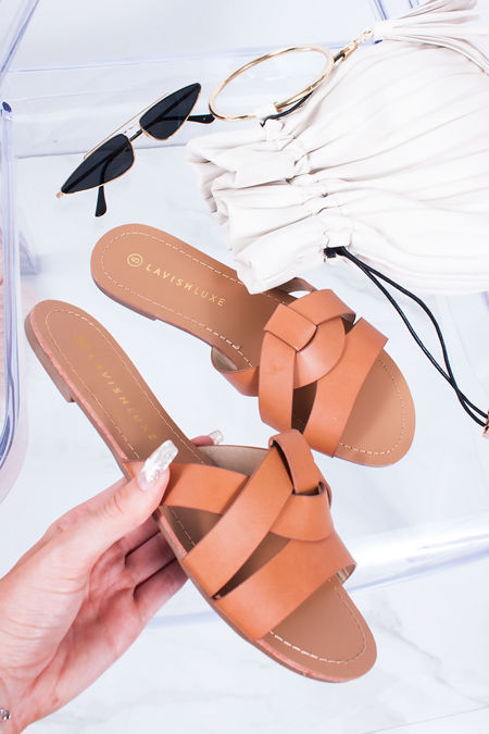 HOLLIE Tan Cross Strap Mule Sandals