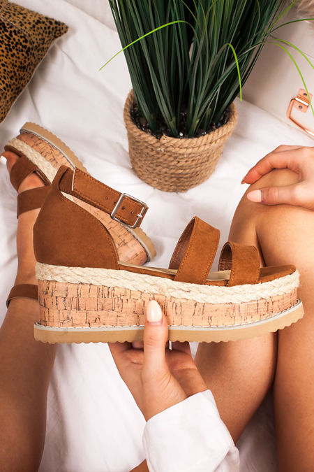 BEA Tan Double Strap Flatform Espadrille Sandals