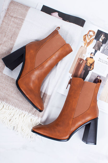 RITA Tan Block Heel Ankle Boots