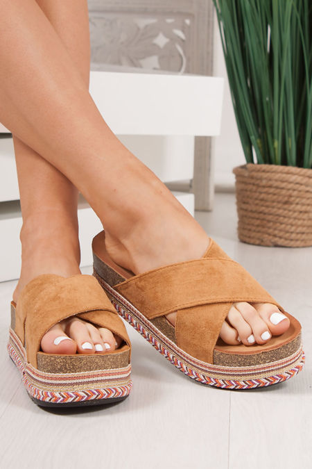 ROXIE Tan Cross Strap Aztec Flatform Sandals