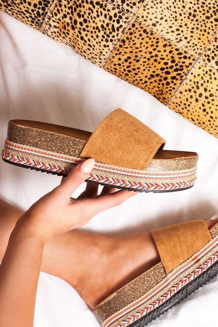 PETRA Tan Strap Aztec Flatform Sandals