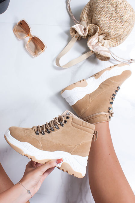 EVELYN Tan Faux Suede Chunky Hiker Trainers