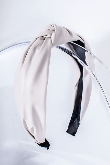 TASHA White Leather Knot Headband