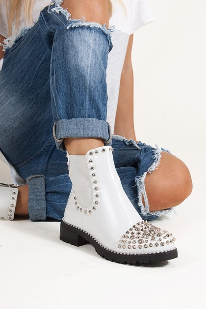 THEA White PU Ankle Boots With Spike Stud Details