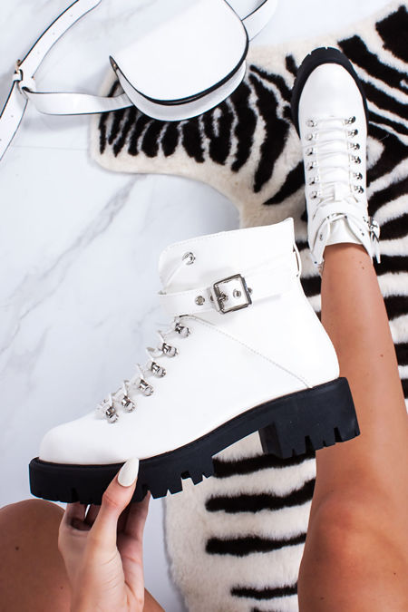 ALYSSA White High Shine Chunky Hiker Ankle Boots
