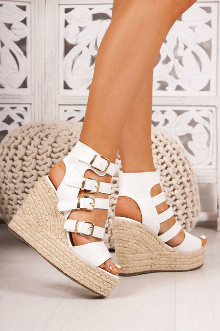 JADE White Buckle Strap Espadrille Wedges