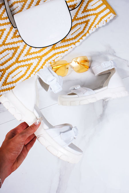 SABRINA White Chunky Sports Sandals