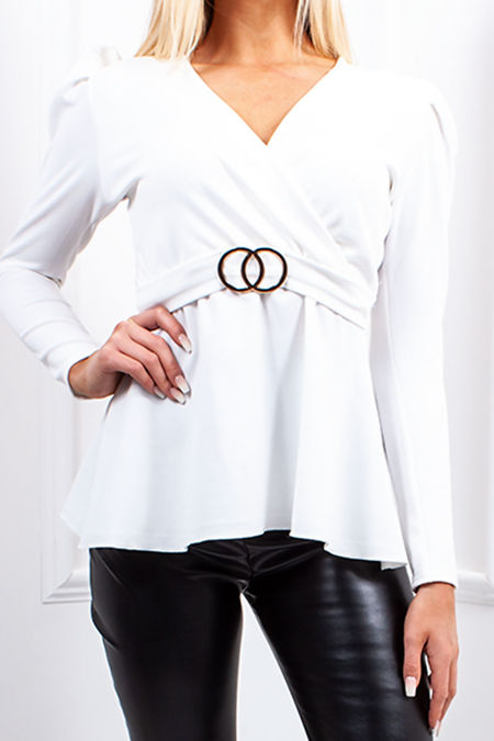 JOLIE White Ring Detail Belted Tie Back Top