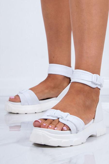 SABRINA White Chunky Sports Sandals