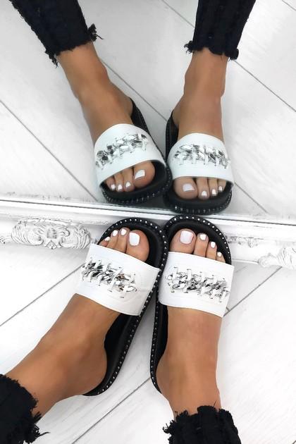 SOFIA White Chain Slider With Silver Stud Detail