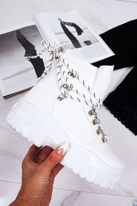HARLEY White Chunky Sole Lace Up Hiker Boots