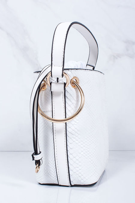 PENNY White Croc Print Bucket Bag