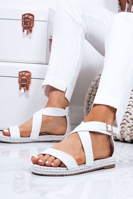 64b5d033d HEIDI White Strappy Rope Sandals