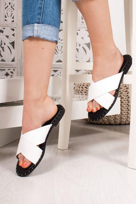 ALEXA White Cross Strap Stud Mule Sandals