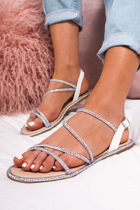 SAVANNA White Diamante Cross Strap Flat Sandals