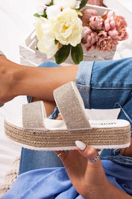 AMIE White Diamante Strap Espadrille Flatform Sandals