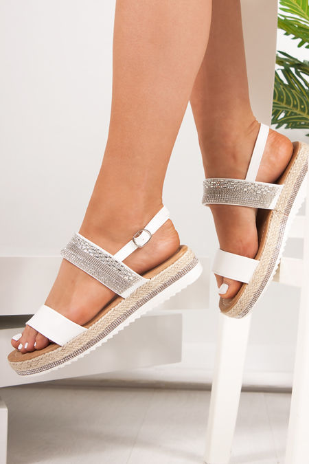 VIENNA White Diamante Detail Flatform Espadrille Sandals