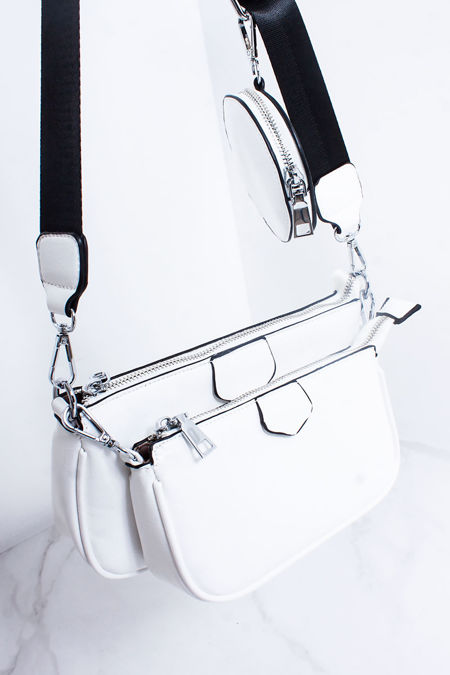 LOUISA White Faux Leather Multi Pouch Cross Body Bag