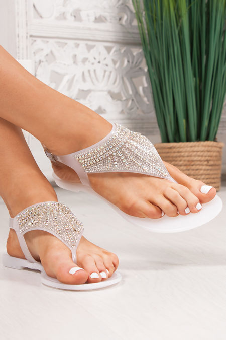 AVERY White Diamante Embellished Jelly Sandals