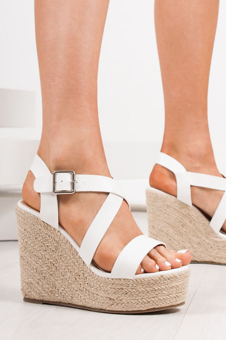 ZARA White Strappy Espadrille Wedges