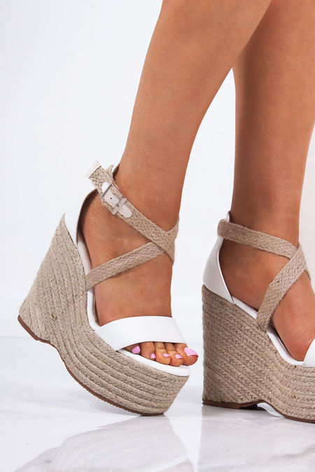 NADIA White Cross Strap Raffia Espadrille Wedges