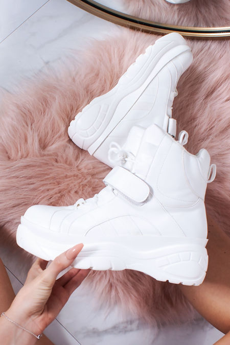 LENNY White Chunky Platform Trainers