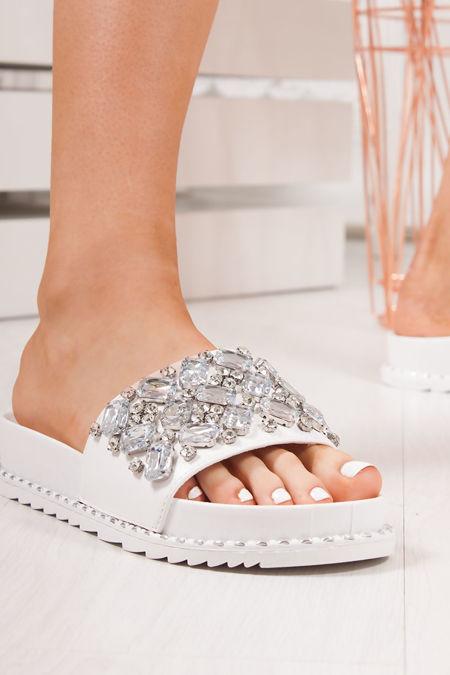 ALICIA White Jewel Embellished Sliders