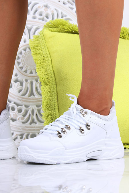 EVE White Lace Up Hiker Trainers