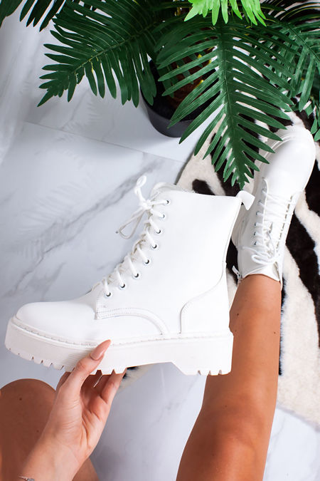 FINLEY White Lace Up Chunky Ankle Boots