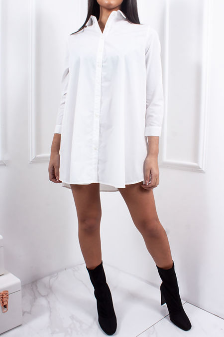 CLEO White Oversized Button Front Shirt Dress