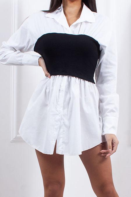 ASPEN White Black Ribbed Bandeau Shirt Dress
