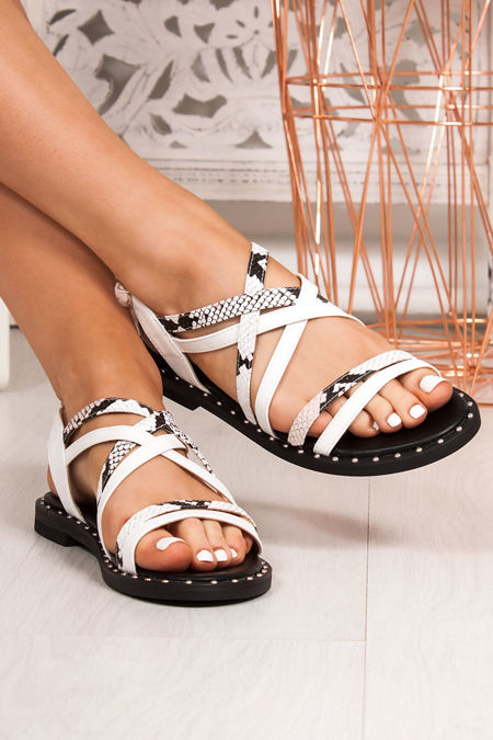 TARA White Snake Print Cross Strap Stud Sandals