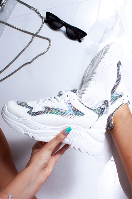 ELIZA White Holographic Chunky Trainers