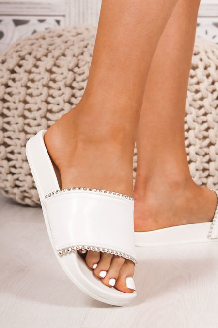 MADDIE White Strap Stud Detail Sliders