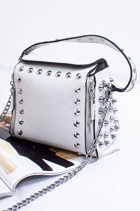 ZARA Off White Faux Leather Stud Detail Top Handle Crossbody Bag