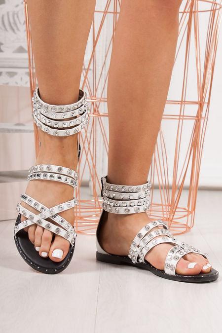 ISLA White Diamante Stud Sandals With Silver Detail