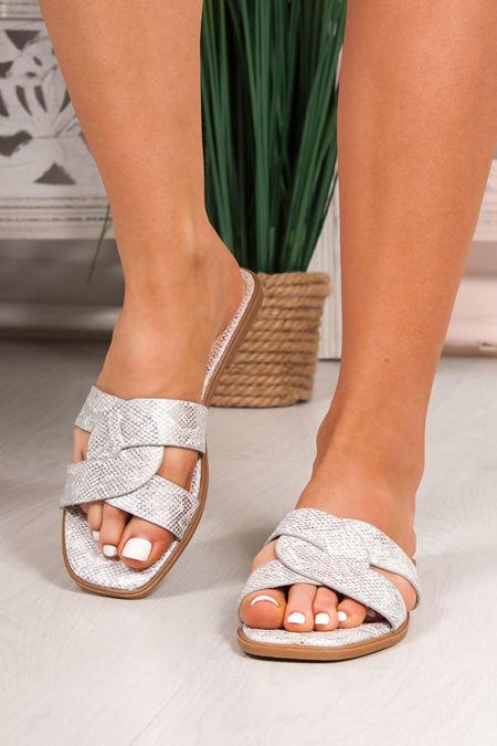 SOPHIE Silver Twist Strap Sandals
