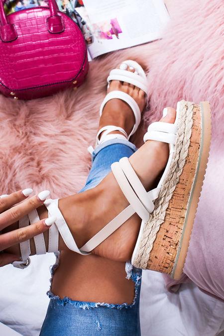 HARLOW White Faux Leather Wrap Up Flatform Espadrille Sandals
