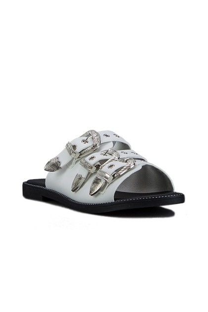 JADA White Buckle Slider Sandals With Silver Detail