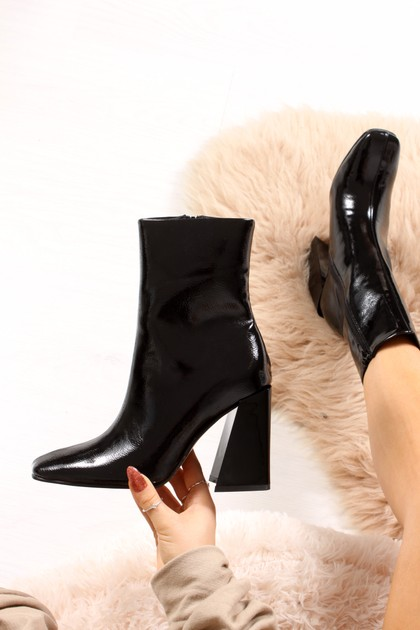 WITNEY Black High Shine Flared Block Heel Boots