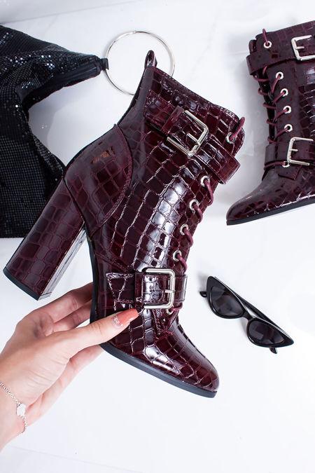 RIAH Burgundy Croc Print Buckle Strap Block Heeled Boots